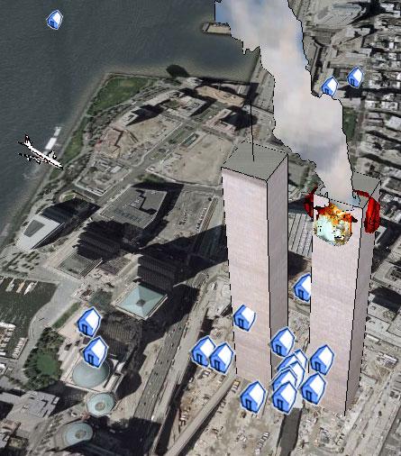 El ataque de las torres gemelas en 3D