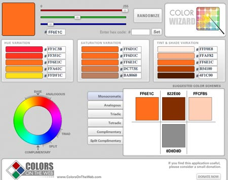 Colors on the web: The Color wizard