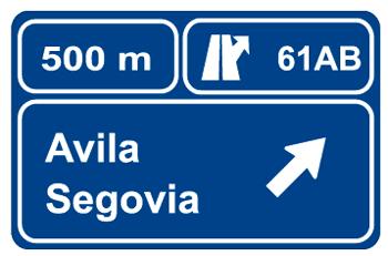 Preseñalización en autopista o autovía de dos salidas muy próximas hacia cualquier carretera