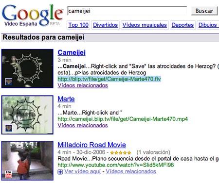 resultados de búsqueda en Google Video